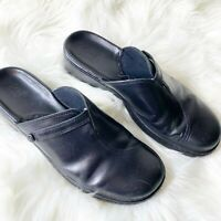 CLARKS Womens mules Black Leather Clogs Shoes Slip On Womens size 10 M
