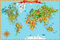 Kids World Map Wall Stickers Vinyl Prints Nursery Boys Girl Decor Art Mural Gift