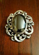 Vintage Danecraft Sterling Silver 925 Milky Blue Glass Pin Brooch Pendant