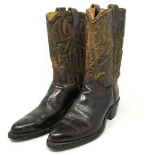 "Vintage Western Boots, Brown, Men's Size 7 ½ D, 12"" , Padded Stitched Uppers"