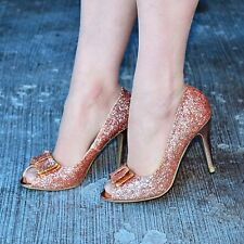 Ladies ROSE GOLD Glitter Heels with Bow High Heel Peep toe Shoes Wedding Evening
