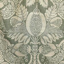 "Floral Damask Lite Upholstery Designer Fabric Linen Rayon Green 26"" Sq. USA  NWT"