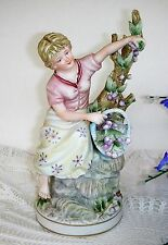 Vintage Handpainted Candrea Sea Candsrea Bisque Girl Figurine Fruit Tree Japan