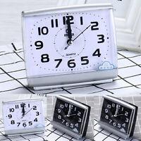 Square Portable Alarm Clock Quartz Bedside Silent No Tick Alarm Clock Analogue