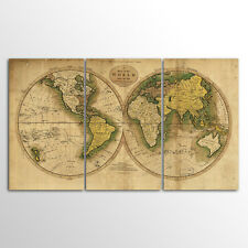 No Frame Large Size Decor Canvas 3 Panels Retro World Map Wall Art Canvas Prints