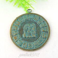 39022 Vintage Style Bronze Tone Alloy Round Charms Pendant Jewelry 12PCS