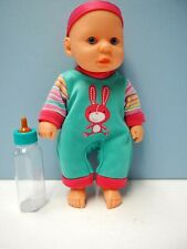 """8"""" Baby Doll with Bottle, Blue Glass Eyes, Headband"""