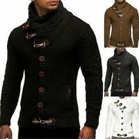 Men Cardigan Winter Coat Silm Outwear Warm Fit Turtleneck Sweater Knitted Tops