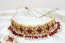 Indian Bollywood Partywear Kundan Red Choker Necklace Earring Set Jewelry Diwali