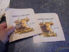 2 Anciens Sachets ou Sac Papier Fromage Crème de Gruyère de la Vache Grosjean