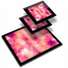 Glass Placemat  & 2x Coaster  - Pink Geometric Modern Pattern  #2848