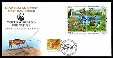 New Zealand 1993 FDC Endangered Species - Block of 4 + SA - Birds Theme