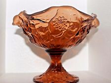 Vintage Fenton Opalescent Honey Amber Footed Compote Water Lily Pattern c.1970's