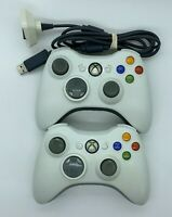 2 Microsoft Xbox 360 Wireless OEM Gamepad Controllers FOR PARTS or REPAIR ONLY