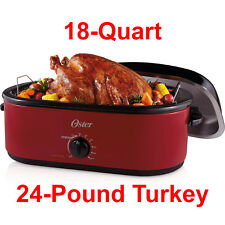 Large 18 Qt Electric Turkey Roaster Oven Oval Slow Cooker 24-Pound Removable Pan