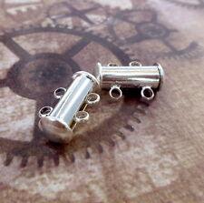 Diapositiva 2 Hebras Magnético Broche Plata Plateado 4 Juegos De Broches De Pulsera