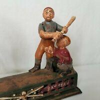 Vintage Cast Iron Mechanical Bank Baseball Hometown Battery Pitcher Batter