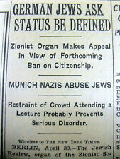 1935 NY Times newspaper JUDAICA Nazi Germany begins THE HOLOCAUST against Jews