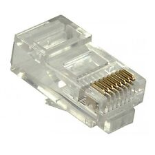 Eagle RJ45 Plug Connector Modular Solid Round 8P8C 100 Pack 6 Micron 24K Gold
