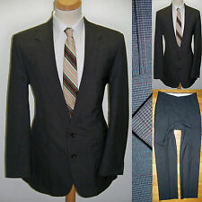 44L 2pc MOD HAGGAR Brown Wool Blend Glen Windowpane Plaid Mens VTG Hipster Suit