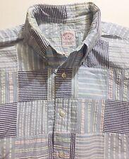 Men's Brooks Brothers Medium Short Sleeve Shirt Madras Patchwork Button M
