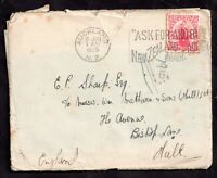 GB 1926 New Zealand cover to Hull with Friends Letter still intact WS18436