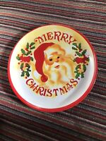 Vintage Christmas Plastic Round Serving Tray 1980s