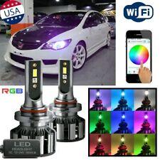 RGB 9005 9006 LED High Low Beam Headlight DRL Fog Light Bulbs APP Control