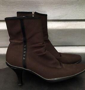 PRADA Brown Tessuto Nylon Pointed Toe Rubber Ankle Boots