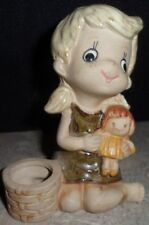 Vintage Ceramic Girl Dolly Planter Big Eyed Child Lorrie Design Figurine Japan