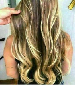 100% Human Hair New Fashion Gorgeous Women's Long Brown Mix Blonde Wavy Wigs