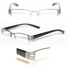 Reading Glasses  BRUSHED METAL Cut-Out Frame Narrow Lens HEMATITE GRAY +1.25