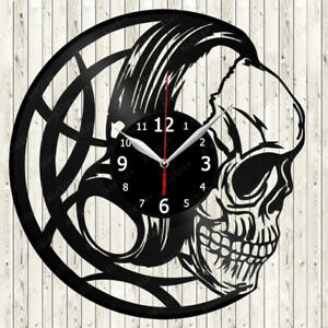 Skull Headphones Vinyl Record Wall Clock Decor Handmade 2073