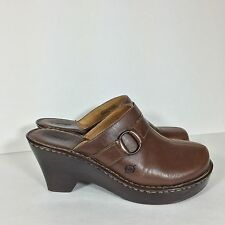 Born Brown Leather Buckle Clog Mules Heels Size 10M 42