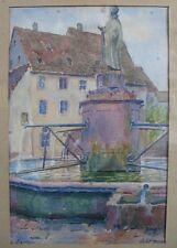 Intéressante aquarelle d'Éguisheim signée Lalauze