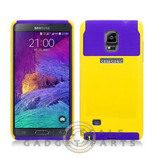 Samsung Galaxy Note 4 Hybrid 2 Tone Case Yellow/Dark Purple Cover Shell Protect