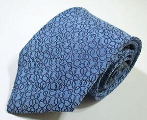 Hermes Paris Ring Link Pattern Blue Color Woven Silk Necktie Tie
