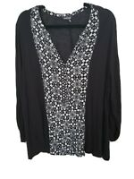LUCKY BRAND Black and White Patterned Blouse Vintage Long Sleeved Shirt (K-13)