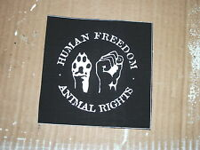 HUMAN FREEDOM/ANIMAL RIGHTS PATCH VEGAN STRAIGHT EDGE PUNK HARDCORE DIY