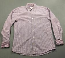 LACOSTE Men's Purple Plaid Button Front Up Shirt Sz 40 Modern Fit Flip Cuff NICE