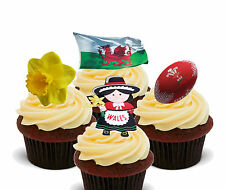 Wales Edible Stand-up Fairy Cup Cake Toppers - Eurovision Welsh Flag Decorations