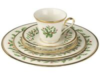 Lenox Fine Bone China Dimension HOLIDAY 5-Piece Place Setting 24K Gold Trim USA
