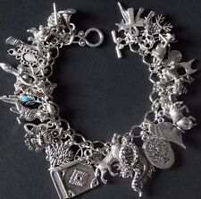 Silver Charm Bracelet Fully Loaded 46 charms Serpent Moon Bat Wolf Pagan Wicca