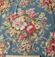 "Vintage c1930 Blue & Pink Floral American Curtain Panel/Drape~L-84"" X W-46"""