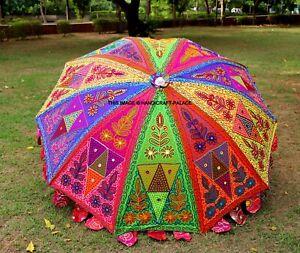 Jardin Parasol Main Brodé Indien Extérieur Parasol Chemin Parapluie