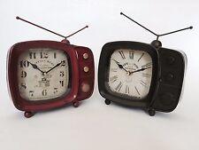 Design Rétro TV Télévision Horloge Métal Style Vintage nouveauté Classique Noël