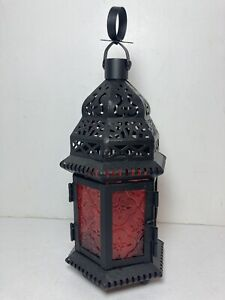 """Red Glass Moroccan Style Lantern Candle Holder Hanging Light 10"""" Home Patio"""