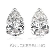 0.50ct Pear Shape Certified F SI Diamond Solitaire Studs in 18ct White Gold