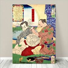 "Traditional Japanese SAMURAI Warrior Art CANVAS PRINT 36x24""~ Tattoo #262"