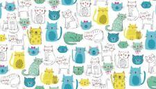 Fabric 100% cotton, Makower UK. Kitty Cats Turquoise 1914/T